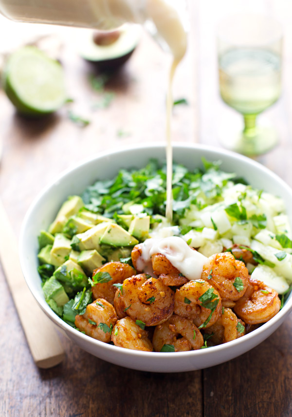 Spicy Shrimp and Avocado Salad with Miso Dressing from Pinch of Yum